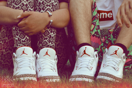 air jordans, boy, couple, girl, supreme