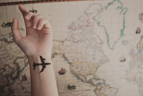 airplane, hand, map, tatoo