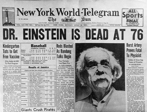 albert einstein, dead, death, einstein, news, news paper, theory of relativity, trash, vintage