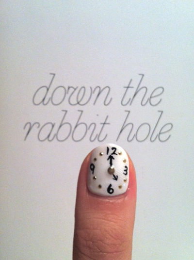 alice, art, clock, cute, fashion, girl, gorgeous, manicure, nail, paint, pretty, rabbit, wonderland