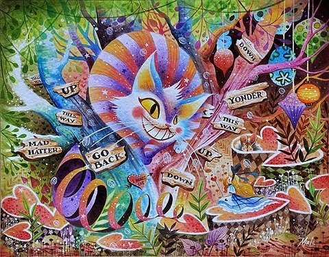 alice in wonderland, art, cat, color, cool, disney, drawing, dreams, girl, hearts, illustration, mad hatter, mushroom, picuters, pretty, psychedelic, story, trippy, wonderland