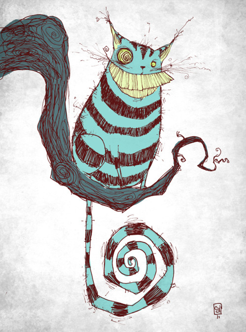 alice in wonderland, cat, cheshire cat, illustration