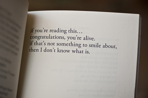 alive, book, read, smile, text