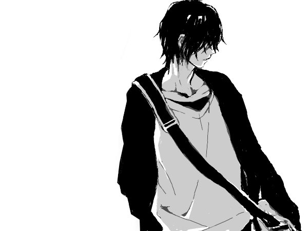 alone, anime, art, black, boy, cry, hair, manga, white