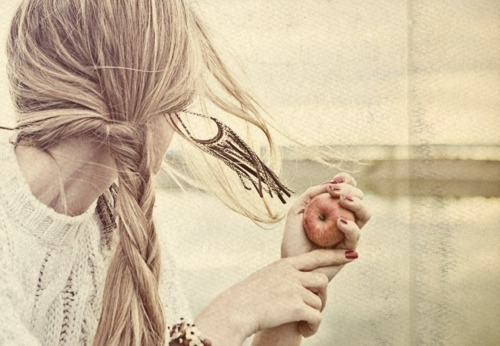 alone, apple, beautiful, blonde, girl
