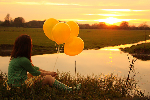 alone, ballons, beautiful, free, girl