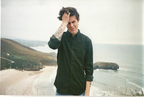 alone, beach, boy, hair, handsome, hipster, indie, ink, nature, photography, shirt, sky, tattoo, vintage