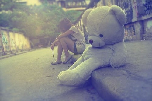 alone, bear, girl