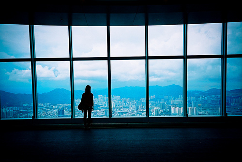 alone, beautiful, big windows, city, cityscape, clouds, girl, nature, photography, pretty, silhouette, sky, skyline, view, windows