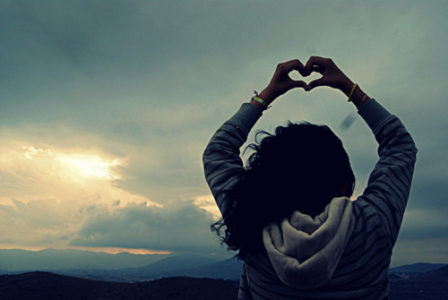 alone, beautiful, cute, fashion, girl, hair, heart, hipster, indie, love, photography, pretty, put your hearts up, sunset