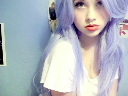 alternarive, blue, cute, emo, eyes, fashion, girl, green eyes, hair, hot, piercing, purple hair, sexy, smile, white