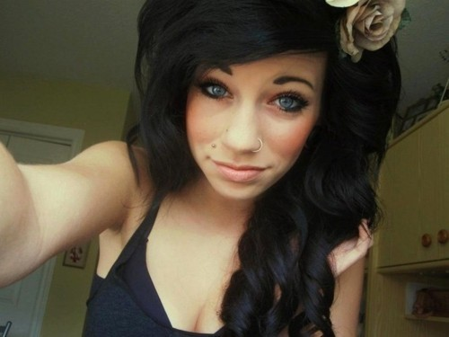 alternative, alternative girl, black hair, blue eyes, brunette