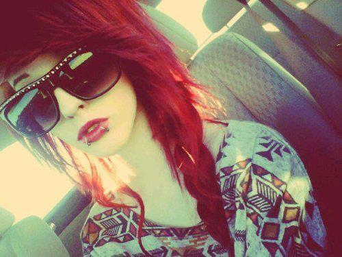 alternative, alternative girl, cute, girl, glasses, piercing, piercings, red hair, scene