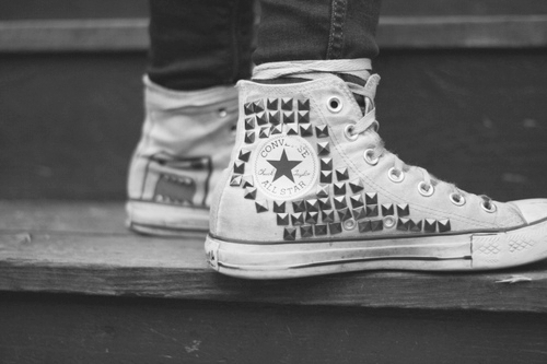 alternative, b&w, black and white, converse, customize