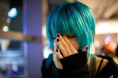 alternative, beautiful, black nails, blue hair, cute
