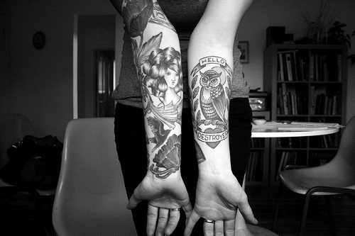 alternative, black and white, girl, ink, inked, tattoed, tattoo, tattoos