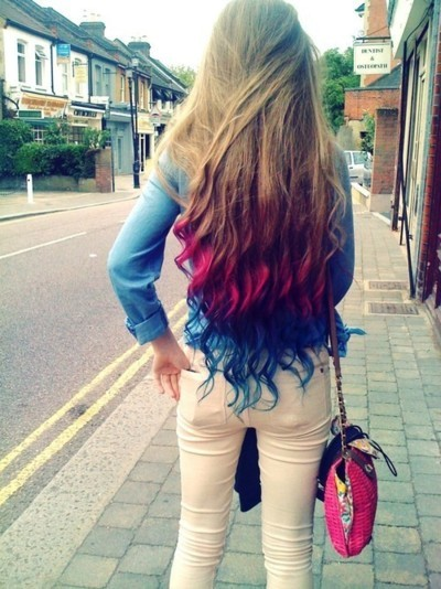 alternative, blue, blue hair, cute, fashion, girl, hair, long hair, ombre, pink, pink hair