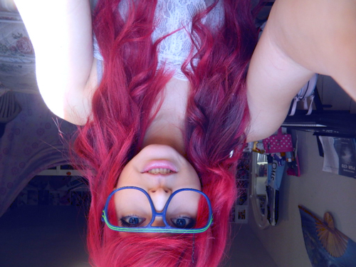alternative, blue, cute, girl, glasses, iliikeplasticforks, red hair, scene