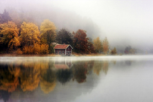 amazing, autumn, awesome, house, lake, photography, trees, water, First Set on Favim.com