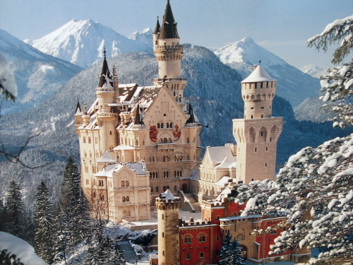 amazing, beatiful, castle, dream, luxury, magic, neuschwan, palace, snow, snowy, surreal, winter