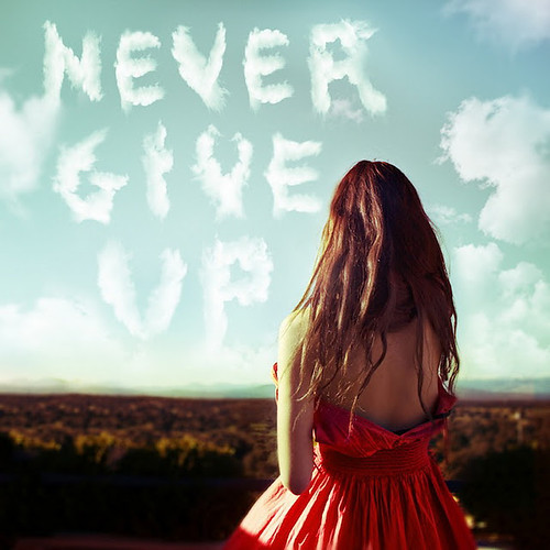 amazing, beautiful, clouds, dress, girl, hair, inspiration, mountain, never give up, red, sky, text