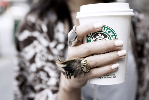 amazing, biela, coffee, fashion, girl, ring, starbucks, style