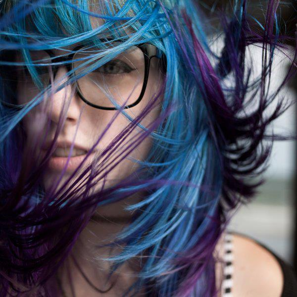 amazing, blonde, blue hair, cute, girl, love, lovely, mascarade, nerd glasses, nice, photographer, purple hair, sexy