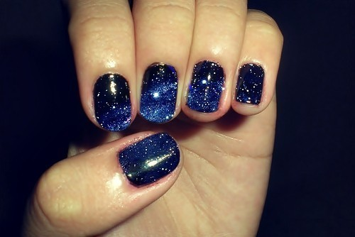 amazing, cool, nails, night sky nails, stars, wow