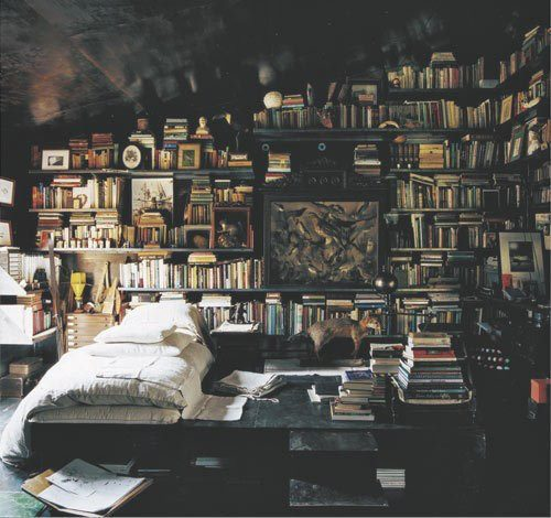 ambiance, bed, bedroom, books, bookshelves