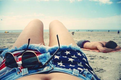 america, beach, blue, fun, girl, sand, skirt, sky, summer, sunglasses, usa