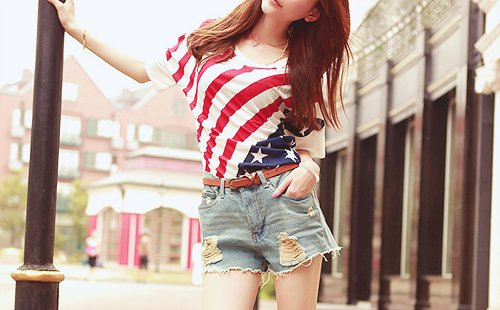 america, beautiful, flag, girl, lady