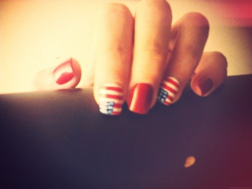 american, flag, girl, model, nail