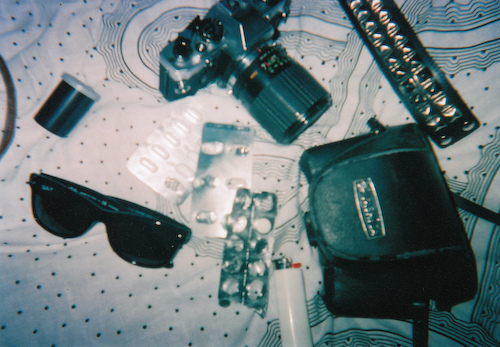 analog, bag, belongings, camera, cute