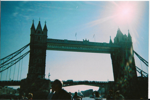analog, beautiful, england, grain, hipster, indie, light, london, road, sun, the tower bridge, tower bridge, towers