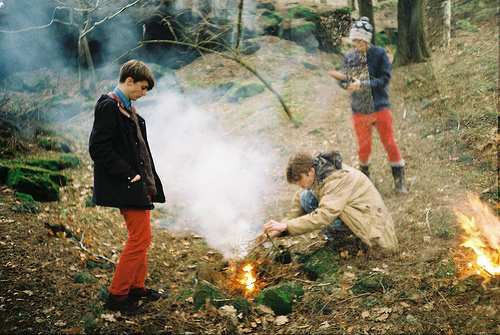 analog, bonfires, boy, boys, cute, fashion, fire, friends, grain, hipster, indie