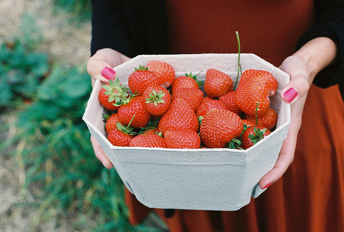 analog, film, fruit, girl, hands, nails, red, strawberries, strawberry