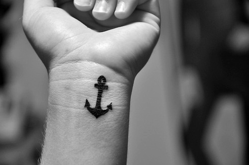 anchor, arm, blac and white, black and white, sofis, tattoo, wrist