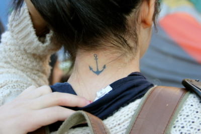 anchor, girl, neck, tattoo