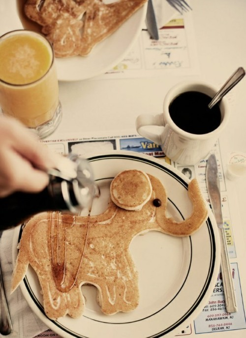 animal, breakfast, cute, elephant, food, pancakes, sweet