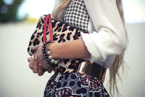 animal print, belt, blonde, blouse, bracelets