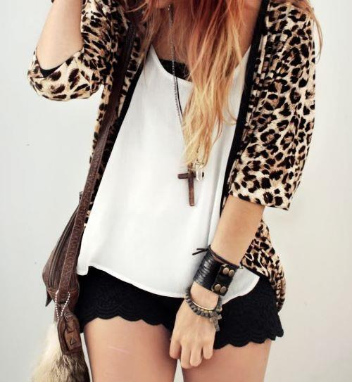 animal print, black, cross, girl, leopard print, white shirt