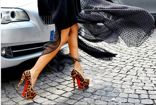 animal print, car, girl, shoes