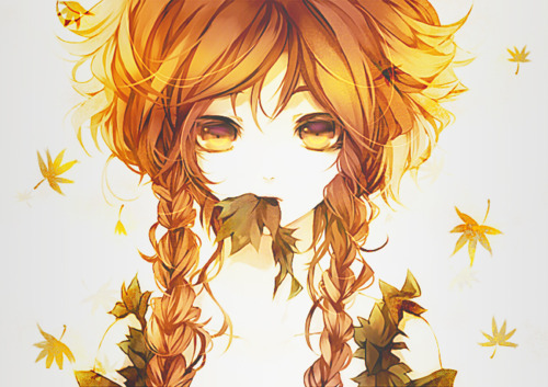anime, autum, braids, girl, leaves