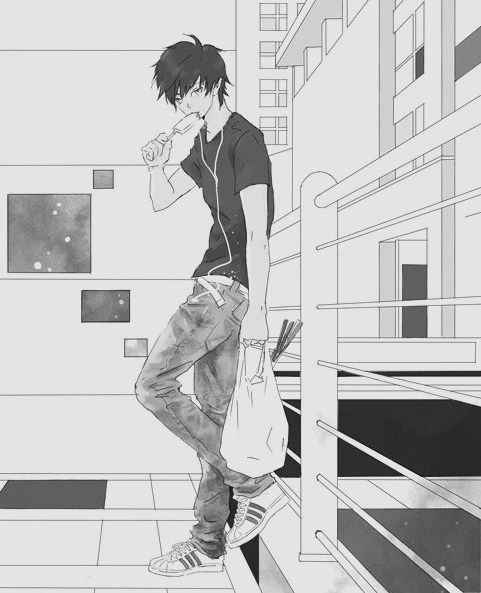 anime, black, boy, cute, isecream