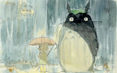 anime, cartoon, catbus, cute, girl, hayao miyazaki, japan, manga, my neighbor totoro, rain, totoro, umbrela