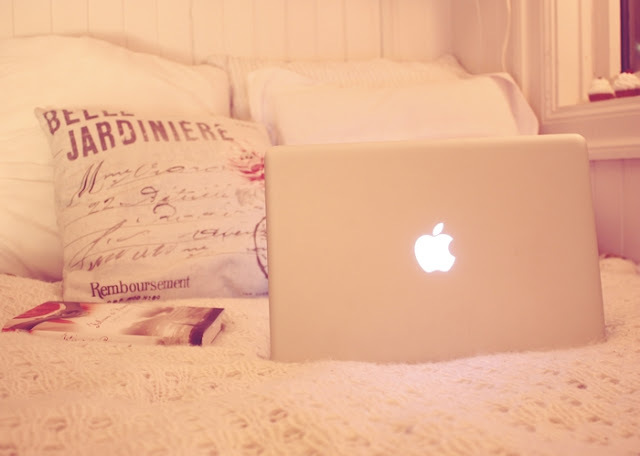 apple, bed, book, computer, cute