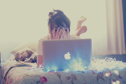 apple, bed, cute, girl, macbook