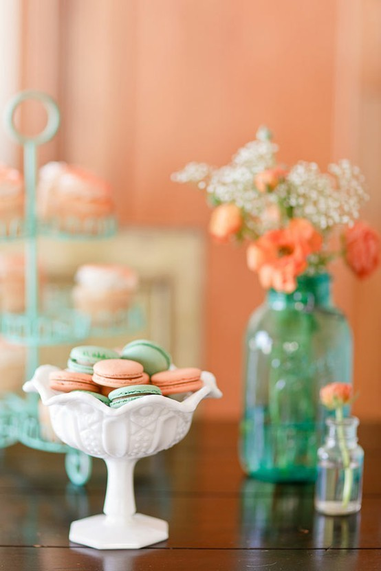 aqua, blossoms, blue, bottles, cookies, flowers, glass, green, macaroons, orange, peach, photo, photograph, pink, sweets, white