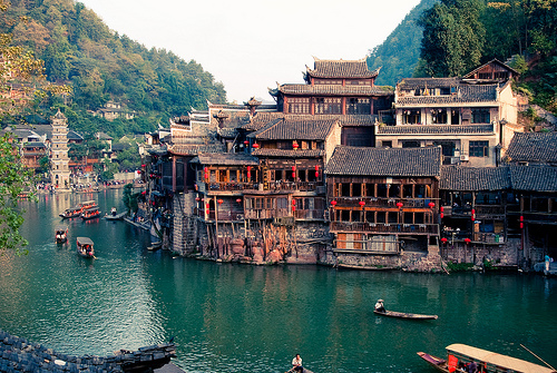 architecture, asia, boat, china, fashion, fuangheng, house, lake, landscape, mountains, river, sea, ship, sky, sun, villa