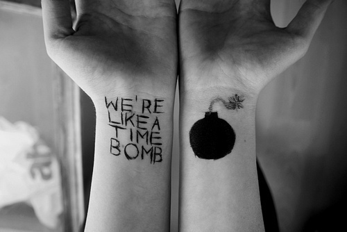arms, bomb, tatto, tattoo, time